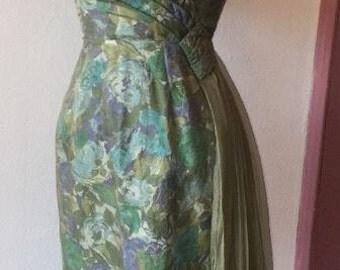 1950s green floral dress
