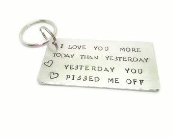 I love you more keyring hand stamped boyfriend gift Valentines day, Birthday gift keychain,  gift, Valentines