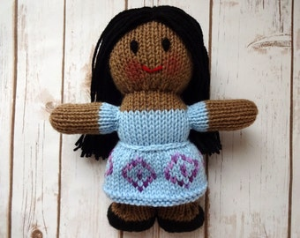 African American Dolly, Hand Knit Stuffed Doll, Fair Isle Knit Doll Dress, Soft Toy, Children's Toy, Gift for Baby Girl, Baby Shower Gift