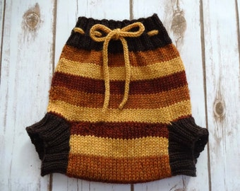 LARGE Wool Cloth Diaper Cover, Hand Knit Cloth Diaper Cover, Autumn Stripes, Yellow, Orange, Red, Boy, Soaker, Wooly, Shorty, 100% Wool