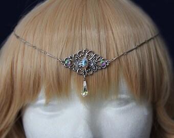Snow queen circlet - Silver tiara with iridescent gems