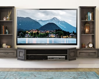 wall mount tv stand console vintage 3 piece u0026 bookcases driftwood gray