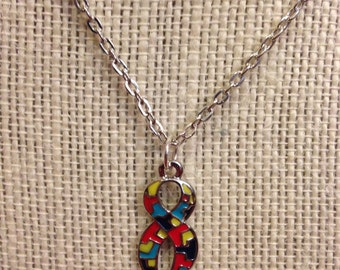 "20"" Autism Awareness Ribbon Necklace"