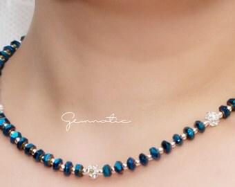 Midnight blue navy blue bridesmaid necklace, bridesmaid gift, bridesmaid jewelry, wedding jewelry