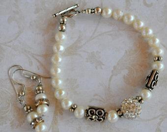 Pearl, crystal pave and sterling silver, sparkly bracelet set, handcrafted bracelet, wedding bracelet