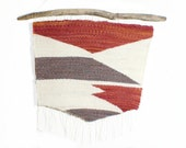 Geometric Woven Tapestry Wall Hanging - Orange White and Brown hanging from Driftwood Branch