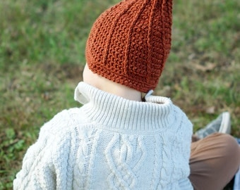Gnome Kids Hat. Burnt Orange Hat for Boys or Girls