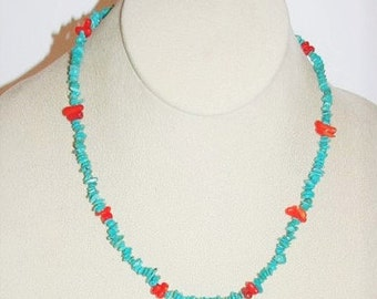 Natural Gemstone Necklace - Turquoise and Red Coral -  S2373