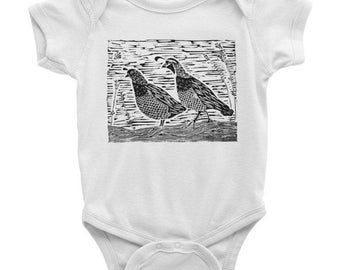 Quail Blockprint Baby Bodysuit - American Apparel baby snap one piece with pair of quail