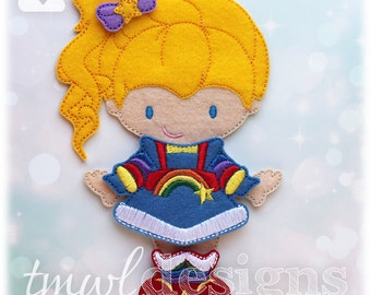 Space Rainbow Dress Felt Paper Doll Toy Outfit Digital Design File - 5x7