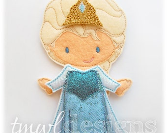 Frost Dress Felt Paper Doll Toy Outfit Digital Design File - 5x7