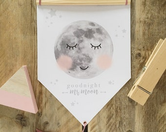 Goodnight Mr Moon scandi wall flag