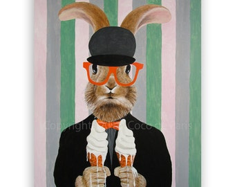 "Rabbit Portrait Painting on canvas, Big Size 31.5x39"", acrylic, handpainted by painter Coco de Paris: Rabbit with melting ice-creams"