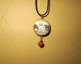 Chinese Cow Bone and Coral Necklace