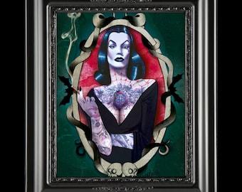 Vampira - Maila Nurmi tattooed-Goth-Vampire-Horror-Giclee Print - Fan Art