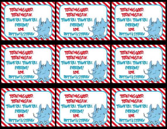 Dr. Seuss Thank You Tags, Dr. Seuss Gift Tags, Thank You Tags, Horton ...