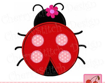 Cute Ladybug with flower applique 02,Flower ladybug,cute ladybug applique- for 4x4 5x7 6x10 hoop-Bug Embroidery,Insect embroidery