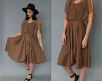 SALE - 1970s dusty brown tank dress with sheer flutter top
