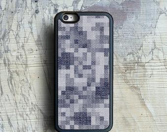 iPhone 6 case, denim pixels iPhone 6s case, blue pastel iPhone 6 Plus case, stylish iPhone case, by Kaladu