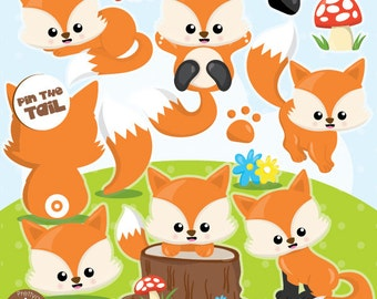 Fox clipart commercial use, foxes clipart vector graphics, woodland animals digital clip art, digital images - CL994