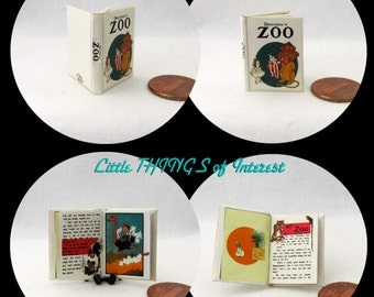 Miniature Book -- THE ZOO Miniature Book Dollhouse 1:12 Scale Book Colorful Illustrated Book Denslow Book 1903