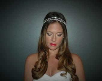 Wedding Halo, Wedding headband, Bridal Halo, Bridal Forehead band, Bridal Headpiece, Wedding Forehead Band Bridal Head Chain Bridal headband