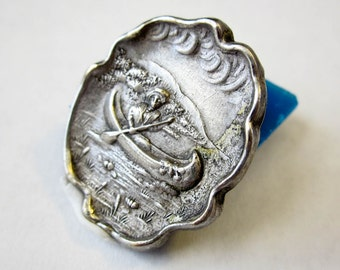 Pin/ Pendant ca1900 Art Nouveau Jugendstil Belle Epoque, Silver Plated, Authentic NOT Repro!, USA.