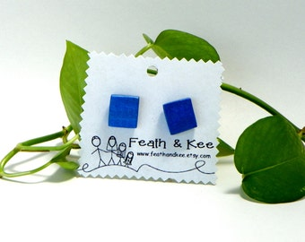 Electric Blue Upcycled Wooden Square Earrings Metallic Recycled Handmade