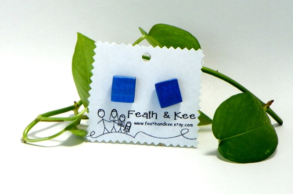 Metallic Blue Earrings from Feath and Kee