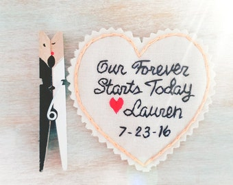 Groom Gift. Hand Embroidered Tie Patch. Gift for Groom from Bride. Tie Patch. Groom Gift. Necktie. Tie Label. Father of the Bride. Groomsmen