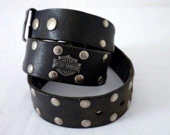 """Black Leather Studded Vintage Harley Davidson Belt NO BUCKLE Women Sz 30"""""""