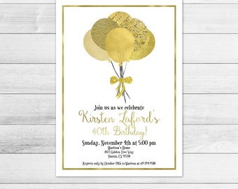 Gold Balloons Birthday Party Invitation, Digital File, Gender Neutral
