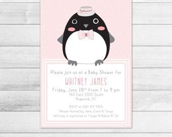 Dapper Penguin Baby Shower Invitation, Girl Digital Printable Invite, Hipster, Fashionable