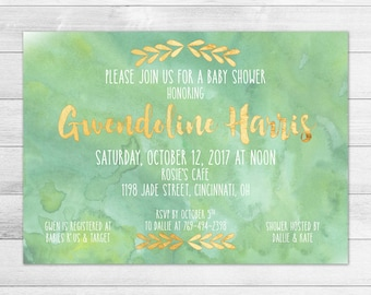 Green Watercolor & Gold Baby Shower Invitation, Gender Neutral Digital Printable Invite