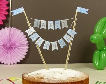 Baby blue Birthday cake bunting stars, stripes & polka dots Cake topper