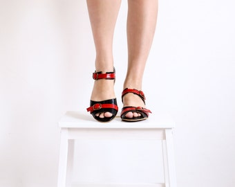 Last pair 40 %  Leather sandals, Black &  Red Open Toe flats women's summer shoes ADIKILAV