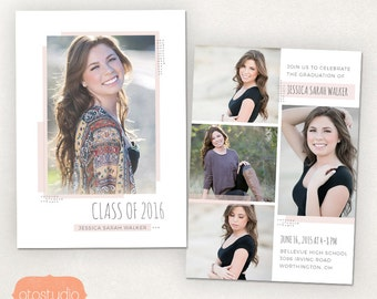 Senior Graduation Announcement Template for Photographers PSD Flat card - Delicate Boho CG034