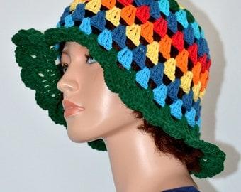 Crochet Sun Hat/ Summer Hat/ Cotton Sun Hat/ Beach Hat/ Derby Hat