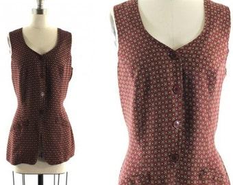 SALE 1990s printed vest • long maroon vest • cinch back vest • geometric print vest M