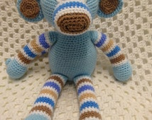 Monkey, striped boy monkey, crochet softie, boy toy, boy gift