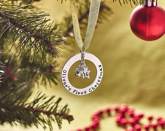 Personalised Christmas Tree Ornament - Baby's First Christmas - Sterling Silver - Hand Stamped - Custom Christmas Tree Ornament