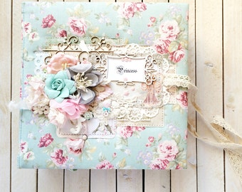 Scrapbook photo album Shabby chic Baby album Birthday Baby girl gift