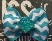 """2"""" Turquoise and White Chevron Print Mini Bow"""