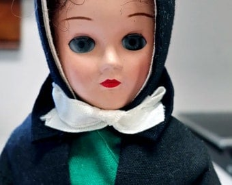 1964 Amish Girl Doll NIB 7 in Green Dress Black Apron Purchased @ PA Folk Fest July 7, 1964
