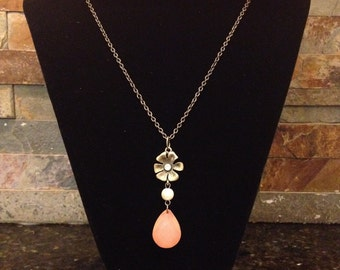 Unique One of a Kind Extra Long Chain Shabby Chic Bohemian Pearl Flower Charm Pink Pendant Necklace