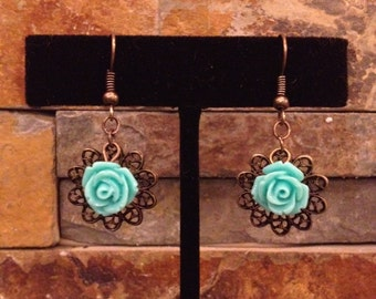 Turquoise Blue Flower Antiqued Gold Filigree Filagree Drop Earrings