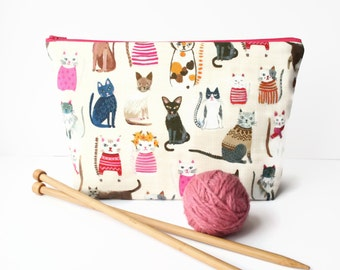 Knitting bag, Cat crochet project bag, Knitting project, Large padded zipper pouch for make up, cosmetics, craft storage, sock bag.