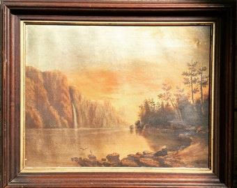 SALE! Antique Oil painting hand painted Landscape Scene painting Unsigned framed vintage antique Interior Design decor  1900 1910 1920 early