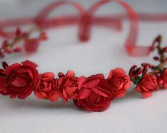 Ruby Red Flower Crown - Red Flower Wreath - Ribbon Tiara - Flower Tiara - Adult Headband - Bridal Flower Crown - Red Tie Back - Medieval