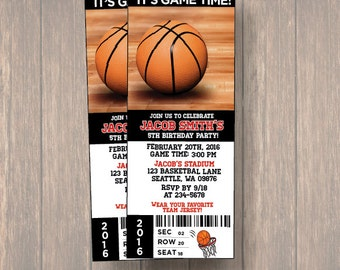 digital birthday party invitations basket ball birthday ticket birthday invitation basket ball ticket - Basketball Party Invitations
